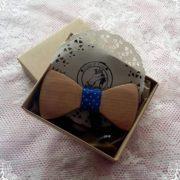 ξυλινο παπιγιον μπλε κορδελα